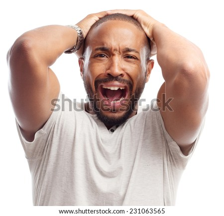 young cool black man lose gesture - stock photo