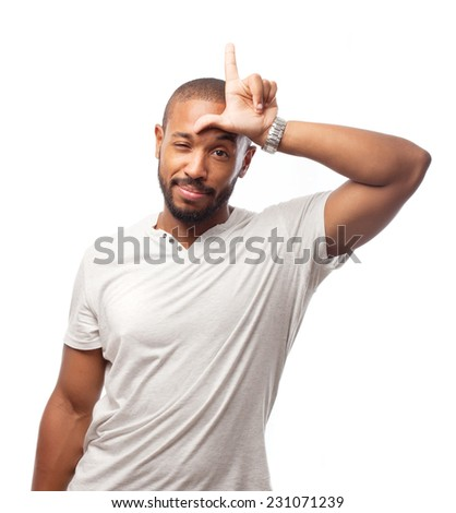 young cool black man loser sign - stock photo