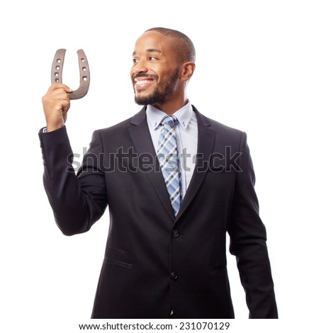 young cool black man lucky concept - stock photo