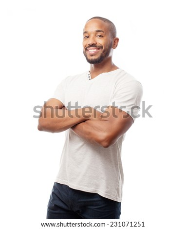 young cool black man proud sign - stock photo