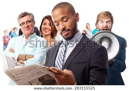 young cool black man reading news