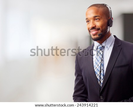 young cool black man with phones