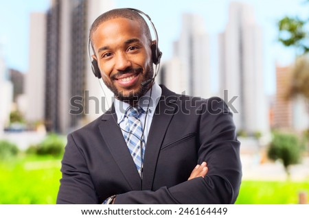 young cool black man with phones - stock photo