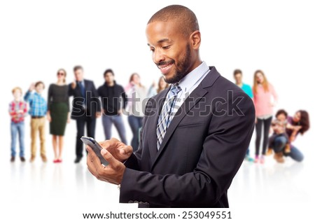 young cool black man with touch screen phone - stock photo