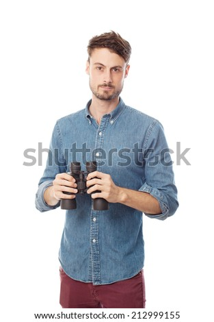 young cool man with binoculars