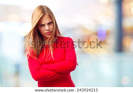 young cool woman angry concept - stock photo