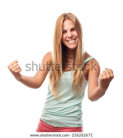 young cool woman celebrating sign - stock photo