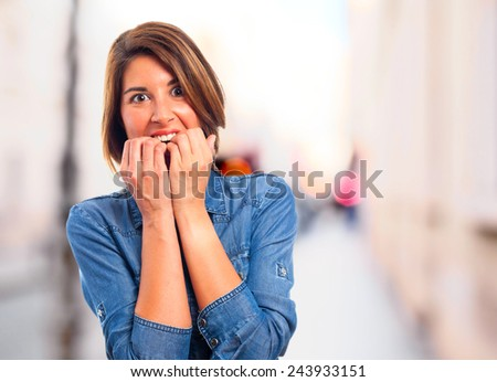 young cool woman frightened - stock photo
