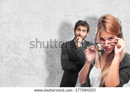young cool woman secretary concept - stock photo