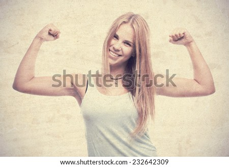 young cool woman strong pose - stock photo