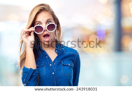 young cool woman surprised - stock photo