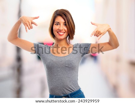 young cool woman winner - stock photo