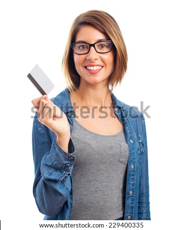 young cool woman with a credit card - stock photo