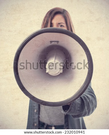 young cool woman with a megaphone