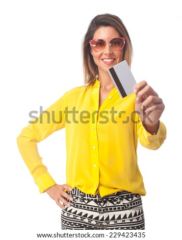 young cool woman with credit card - stock photo