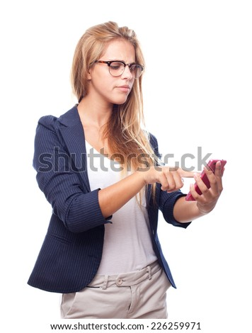 young cool woman with touch screen phone - stock photo