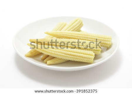 Young corn on white background