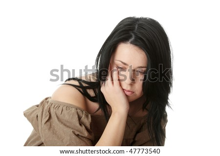 Young corpulent woman with depression isolated on white - stock photo