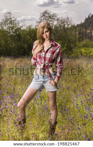 Young country western girl tied flannel stock photo for Country girl flannel shirts