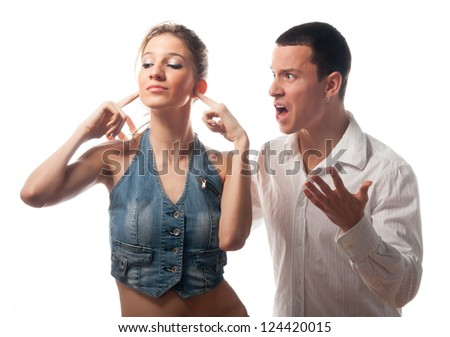 Young couple arguing isolated on white. - stock photo
