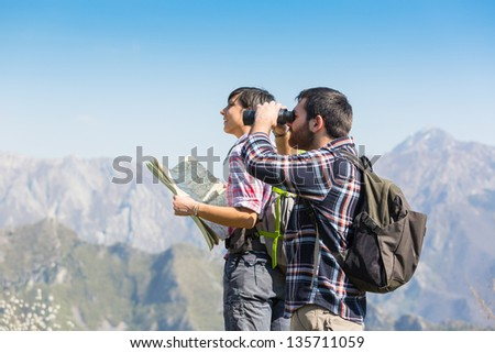 Young Couple at Panoramic View - stock photo