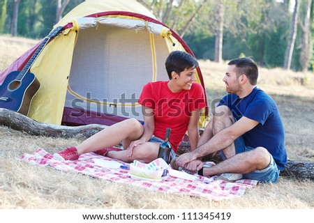Young Couple Camping,Italy