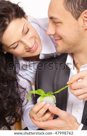 Young couple celebration - stock photo