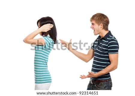 Young couple conflict concept, woman close cover ear from screaming man, isolated over white background - stock photo