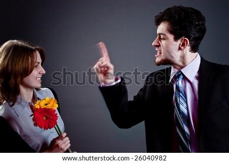 young couple conflict, studio - stock photo