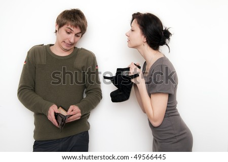 Young Couple Conversation, she want shoes, he show her empty wallet - stock photo