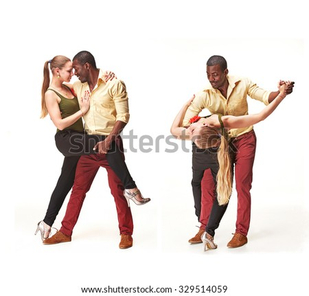 Young couple dances social Caribbean Salsa, studio shot isolated on white background. Positive human emotions. black african and Caucasian models Collage - stock photo