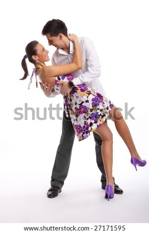 young couple dancing - stock photo