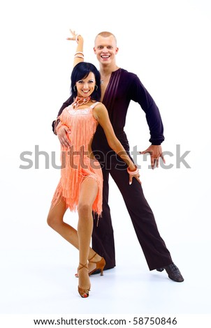 young couple dancing over white backgrond - stock photo