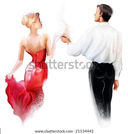 young couple dancing tango - stock photo
