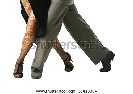 Young couple dancing Tango in the street - stock photo