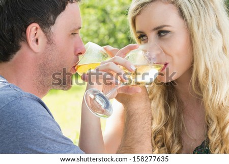 Young couple drinking wine together outside on sunny day - stock photo