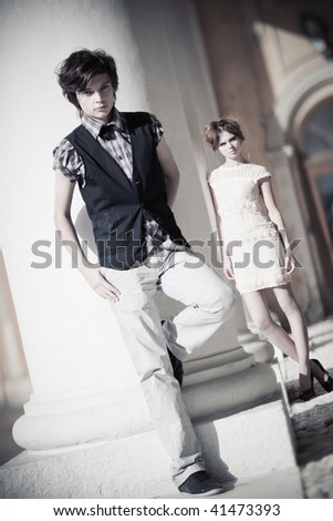 Young couple fashion. Camera angle view.