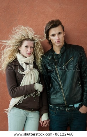 Young couple fashion portrait - stock photo