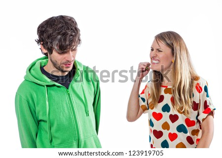 Young couple fighting and yelling - stock photo