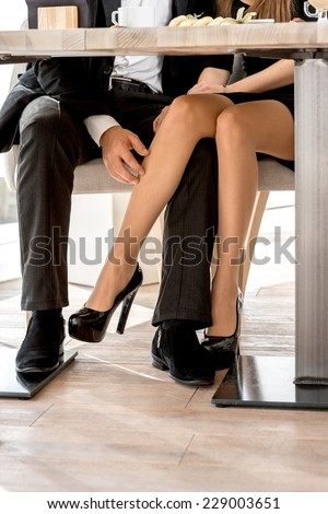Young Couple Flirting Legs Restaurant Under Stock Photo Download