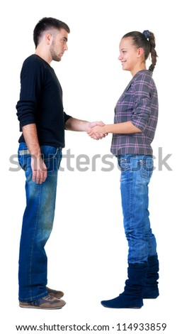 Young couple hand shake. Isolated  over white. - stock photo
