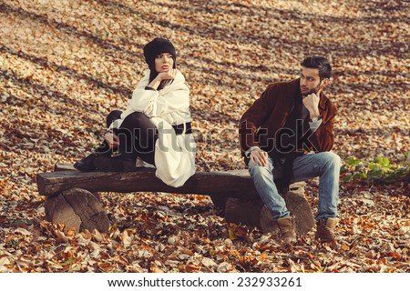 Young couple have a love problem - stock photo