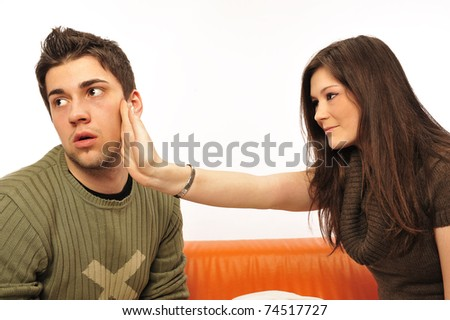 Young couple having a  fake quarrel. Playing