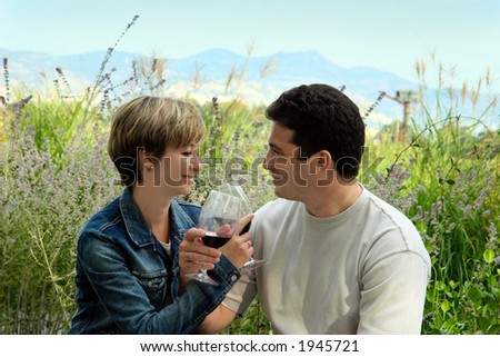 Young couple having picnic with wine - stock photo