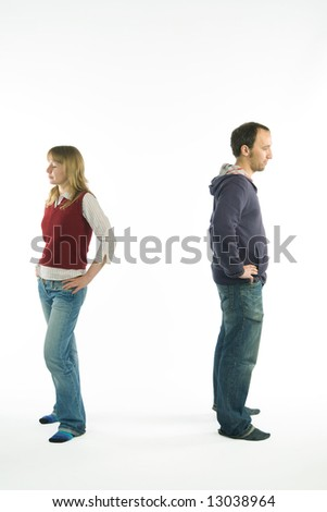 young couple having problems with relationships. Image with clipping path - stock photo