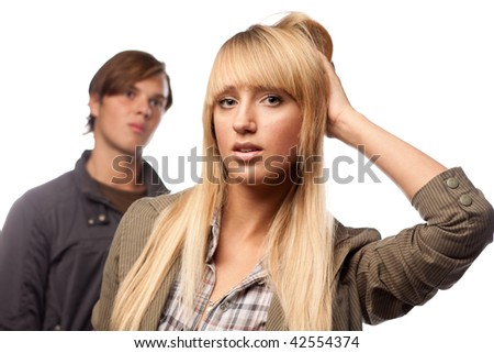 Young couple having problems with relationships  on a white background. - stock photo