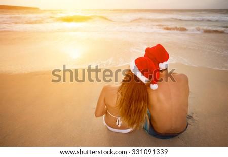 Young couple having romantic Christmas vacation - stock photo