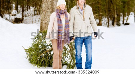 Young Couple holding fir outdoor