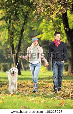 Young couple holding hands and walking a dog in a park - stock photo