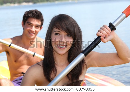 Young couple in a canoe